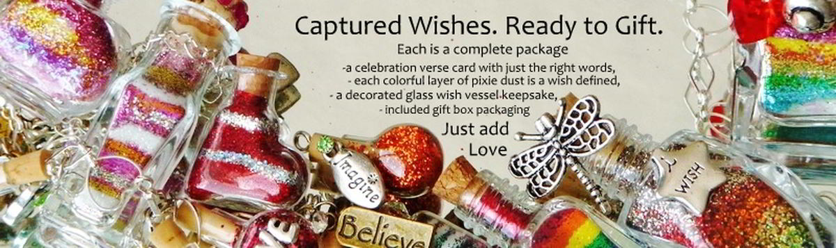 Captured Wishes ready to gift banner with colorful vessels holding colorful layers