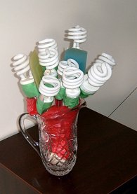 flourescent lightbulb bouquet